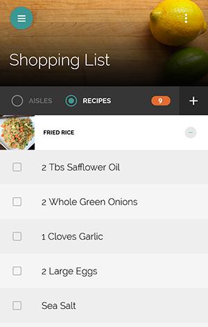Yummly Recipes - nákupní seznam