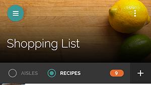 Yummly Recipes - nákupní list